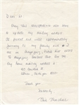 Mike Marshall Rare Cy Young Winner Signed Letter Circa 1967-68 Tigers Dodgers Pilots