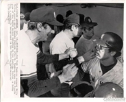 1977 Yankees Billy Martin Greets Reggie Jackson 1977 World Series Original AP Wire Photo