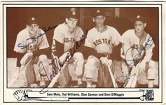 1983 TCMA Postcard Ted Williams, Sam Mele & Dom DiMaggio Signed AUTO