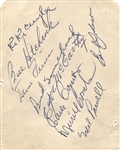 Kiki Cuyler Signed 1949 Red Sox Album Page w/ Joe McCarthy, Earle Combs WoW