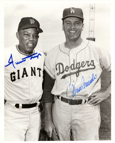 Willie Mays (Giants HOF) & Gino Cimoli Dodgers signed 1958 photo