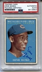 1961 Topps Ernie Banks Cubs Signed AUTO baseball card #485 PSA/DNA