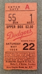 1954 Brooklyn Dodgers vs. Pittsburgh Pirates Ticket Stub Duke Snider 3 Run HR (May 22nd)