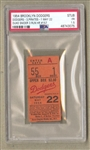1954 Brooklyn Dodgers vs. Pittsburgh Pirates Ticket Stub Duke Snider 3 Run HR May 22nd PSA Pop 2