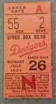 1954 Brooklyn Dodgers vs. New York Giants ticket stub Carl Erskine 5 hitter July 26th