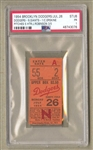 1954 Brooklyn Dodgers vs. New York Giants ticket stub Carl Erskine 5 hitter July 26th PSA Pop 1