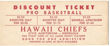 1961-62 Hawaii Chiefs ABL basketball FULL TICKET – Ultra RARE