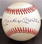 Mickey Mantle Single Signed AUTO AL (Brown) Baseball NY Yankees PSA/DNA