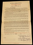 Pete Berezney & Dudley DeGroot Signed 1948 L.A. Dons AAFC Football Contract Notre Dame