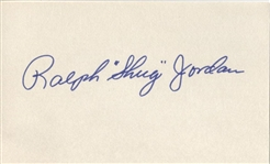 Ralph Shug Jordan Signed 3x5 Index Card College Football HOF Auburn D.1980