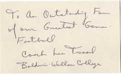 Dick Colman Signed 3x5 Index Card College Football HOF D.1982