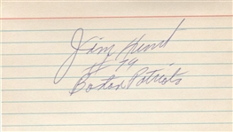 Jim Lee Hunt Signed 3x5 Index Card Boston Patriots AFL 4 X All-Star – Patriots HOF D. 1975
