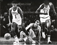 Oscar Robertson Steals Basketball w/ Bobby Dandridge Original Photo Milwaukee Bucks