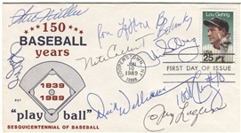 1989 Lou Gehrig Stamp Multi-Signed FDC Postal Cover w/ Dick Williams & Todd Cruz