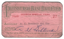 1949 Pittsburgh Pirates Season Pass – Rosey Roswell 1st Broadcaster in History