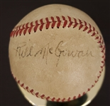 Circa 1947-52 Bill McGowan Signed Baseball Displays as a Single JSA LOA