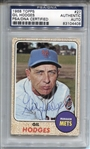 1968 Topps Gil Hodges #27 Signed AUTO New York Mets PSA/DNA Key Card In Set