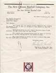 Charles Hurth Signed Letter 1st GM of Mets – New Orleans Baseball Letterhead JSA LOA