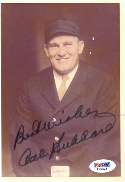 Cal Hubbard Signed AUTOGRAPHED photo Only Man in Baseball & Pro Football HOF