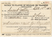 Eddie Collins (D. 1951) Signed Trade Document for Smead Jolley Baseball HOF JSA LOA