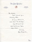 Bob Sheppard Signed letter on Yankees letterhead Yankees PA announcer JSA