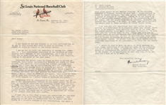 Branch Rickey extraordinary signed letter signed to Eddie Dyer with Great Depression content JSA LOA