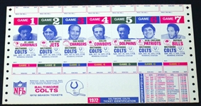 Baltimore Colts 1972 Season Tickets Uncut Sheet Printers Proof with Schedule