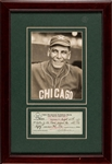 Chief Bender Baseball Hall of Famer Signed Personal Check Display D.1954
