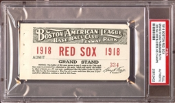 1918 Boston Red Sox World Championship Season Grand Stand Pass – Curse of the Bambino – Babe Ruth