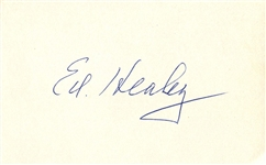 Ed Healey signed 3x5 index card Pro FB HOF Chicago Bears D. 1978