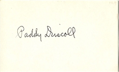 Paddy Driscoll Signed 3x5 index card D.1968 Pro FB HOF Chicago Bears