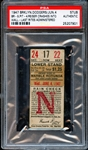 1947 Brooklyn Dodgers vs. Pirates Ticket Stub Reiser Crashes Into Wall-Last Rites Administered PSA AUTHENTIC