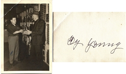 Cy Young Twice Signed Photo with Granger Tobacco JSA LOA
