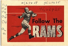 1941 Cleveland Rams NFL Football Original Schedule by Texaco