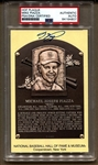Mike Piazza Signed Autographed Gold Yellow Baseball HOF Plaque Postcard PSA/DNA