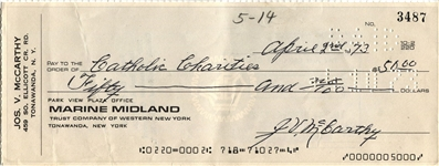 Joe McCarthy Baseball HOF Signed personal check New York Yankees