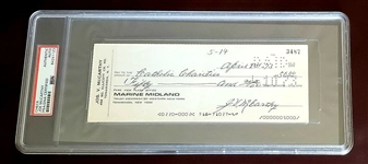 Joe McCarthy Baseball HOF Signed personal check to Catholic Charities New York Yankees PSA/DNA