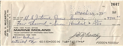 Joe McCarthy Baseball HOF Signed personal check to the IRS - New York Yankees