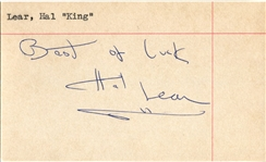Hal King Lear Signed 3x5 Index Card Temple Owls – Philadelphia Warriors