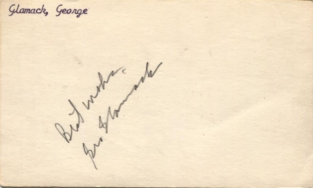 George Glamack Signed 3x5 index card – UNC Basketball Legend – Rochester Royals