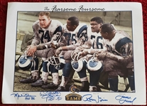 "Los Angeles Rams ""The Fearsome Foursome"" Signed by 4 -  Color Litho Print"