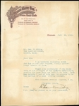 Charles Comiskey Typed Letter Signed from 1913 on White Sox Letterhead JSA LOA