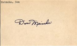 Don Meineke Signed Index Card – 1st NBA Rookie of the Year