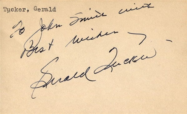 Gerald Tucker Signed index card – 1956 U.S. Olympic Gold Basketball Team Coach – Oklahoma Sooners