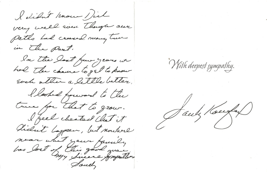 Sandy Koufax Signed Handwritten Letter to Dick Schaap's Family – ULTRA RARE