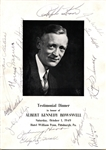 Rosey Rowswell Testimonial Dinner Banquet Program Signed by Honus Wagner and more
