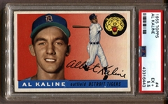 1955 TOPPS BASEBALL #4 AL KALINE HOF PSA 5.5 EX + TIGERS 2ND YEAR