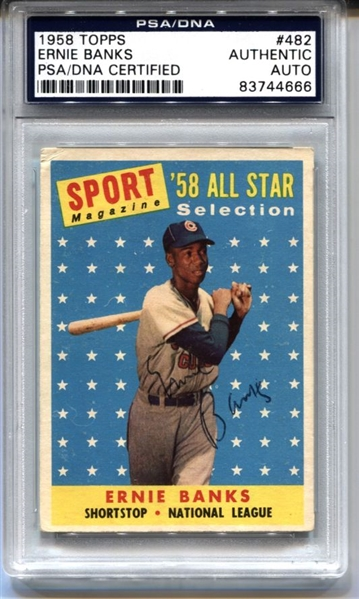 1958 Topps Ernie Banks Cubs Signed AUTO baseball card #482 PSA/DNA