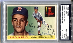 1955 Topps #36 Leo Kiely Signed AUTO baseball card D. 1984 PSA/DNA