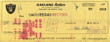 Dave Dalby (D. 2002) Signed Oakland Raiders Bonus Payroll Check From 1978